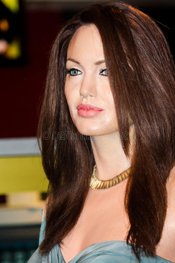 Angelina Jolie wax figure stock image