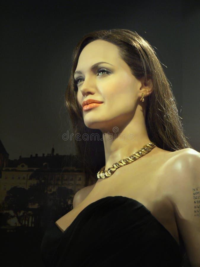 Angelina Jolie, Hollywood Celebrity. Wax model of Angelina Jolie, Hollywood celebrity and actress. Madame Tussauds in Wax Museum Prague - Exhibition. Photo taken stock photo
