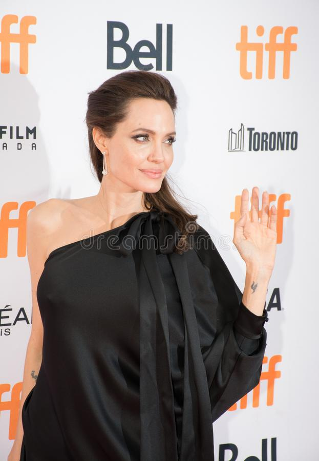 Angelina Jolie World Premiere of `First They Killed My Father` at Toronto International Film Festival. Angelina Jolie waving at fans at the Premiere of Netflix`s royalty free stock photography