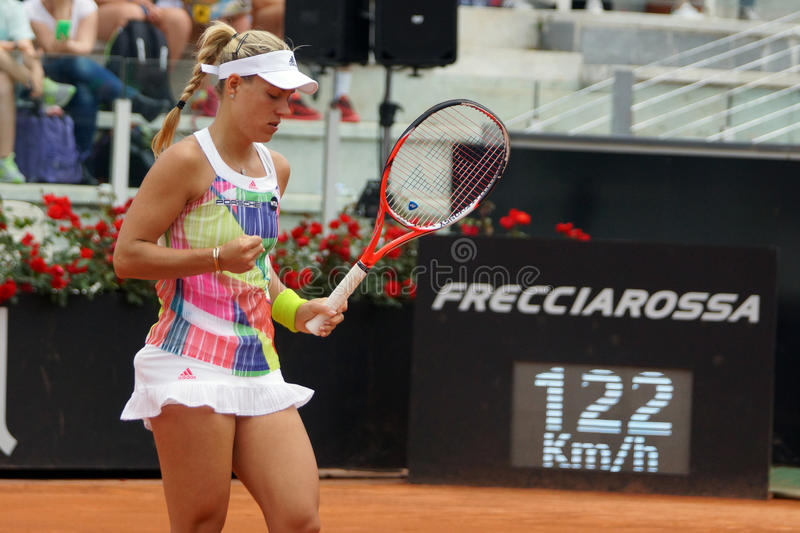 Angelique Kerber (GER). ROME, ITALY - MAY 11, 2016: Angelique Kerber (GER) during her match against Eugenie Bouchard (CAN) at the Internazionali BNL d'Italia in royalty free stock photos