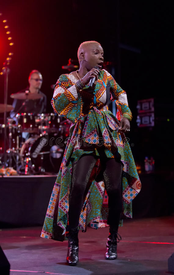 Angelique Kidjo performs live on 28th April Jazz. ESPOO,FINLAND - APRIL 27, 2014 Angelique Kidjo performs live on 28th April Jazz. She is a Grammy Award winning royalty free stock photos