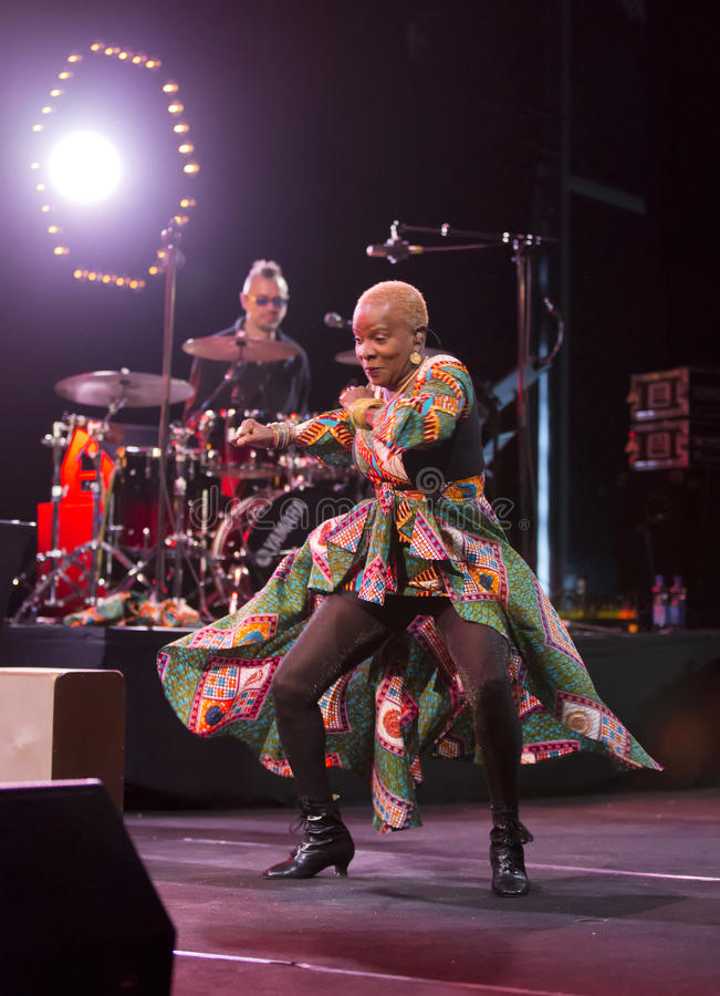 Angelique Kidjo performs live on 28th April Jazz. ESPOO,FINLAND - APRIL 27, 2014 Angelique Kidjo performs live on 28th April Jazz. She is a Grammy Award winning royalty free stock photography