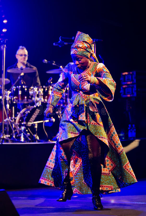 Angelique Kidjo performs live on 28th April Jazz. ESPOO,FINLAND - APRIL 27, 2014 Angelique Kidjo performs live on 28th April Jazz. She is a Grammy Award winning stock photography