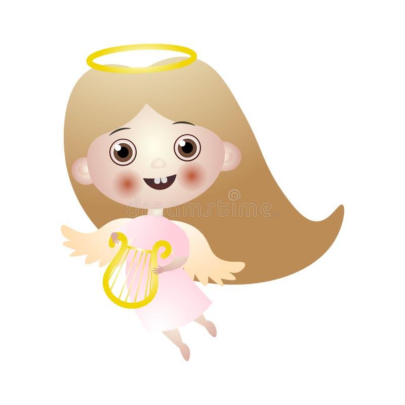 Angelo castana sveglio del bambino con l'arpa e le ali dell'oro illustrazione di stock