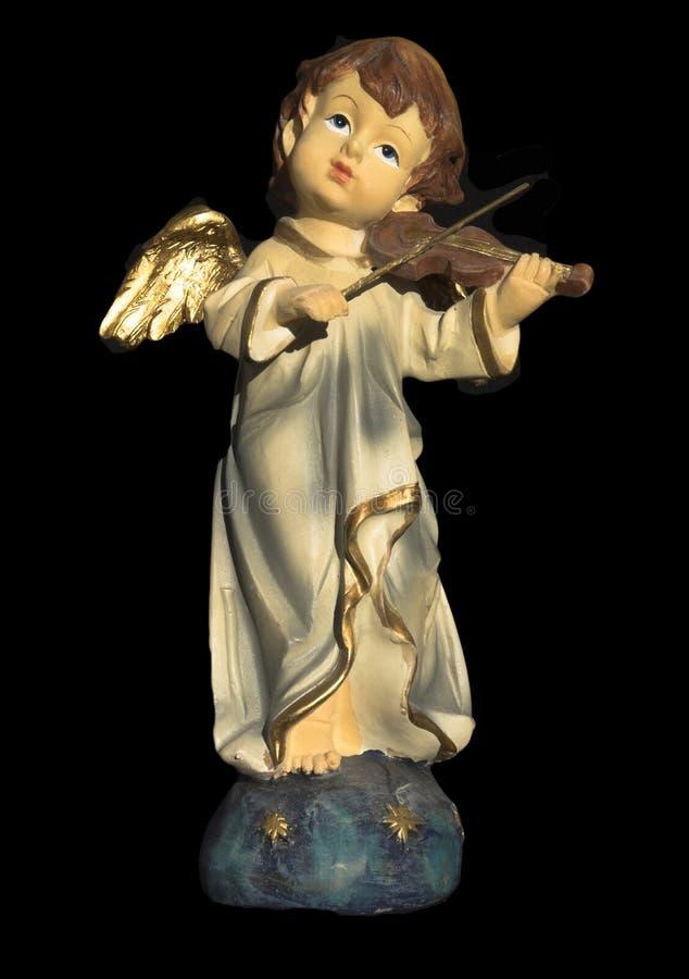 Angelo ceramico che gioca violino immagine stock libera da diritti