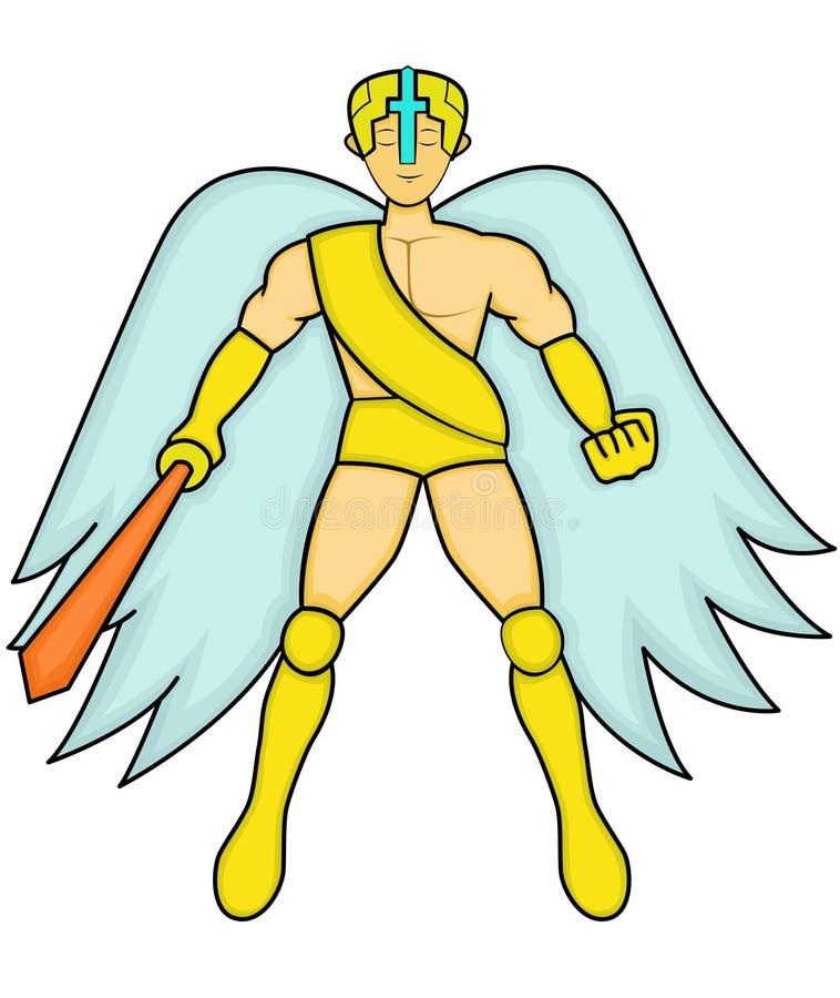 Angelo con il personaggio dei cartoni animati della spada illustrazione vettoriale