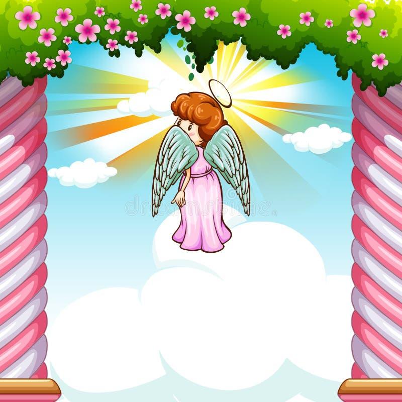 Angelo con le ali che volano nel giardino illustrazione vettoriale
