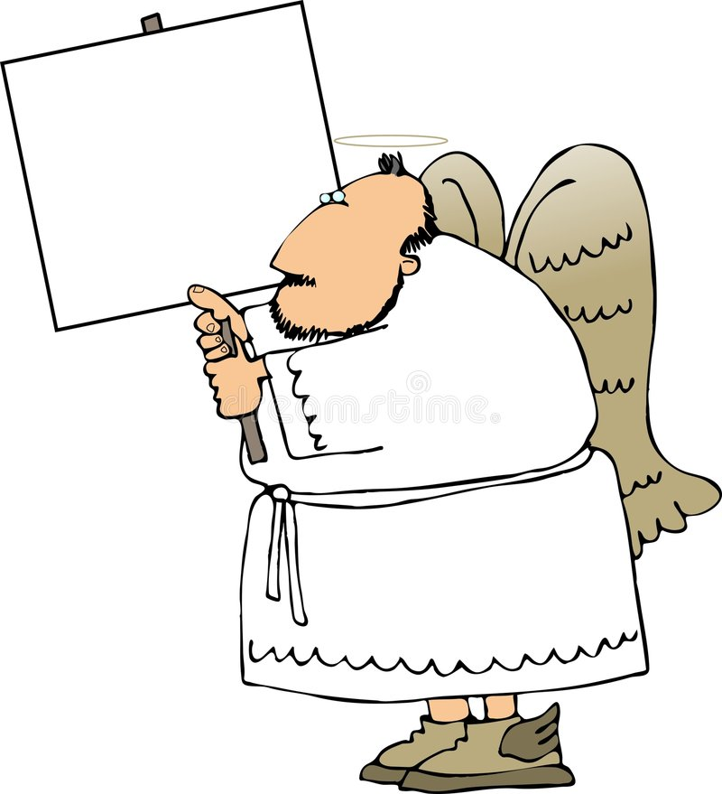 Angelo con un segno royalty illustrazione gratis