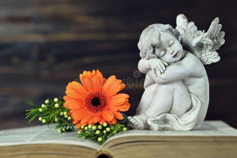 Angelo custode che dorme sul vecchio libro fotografia stock