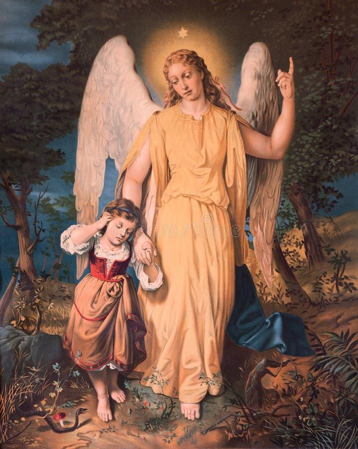 Angelo custode con il bambino Immagine di stampa cattolica tipica dall'inizio del ventesima secolo fotografie stock