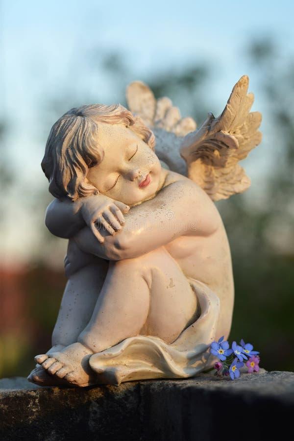 Angelo custode e fiori di sonno immagine stock libera da diritti
