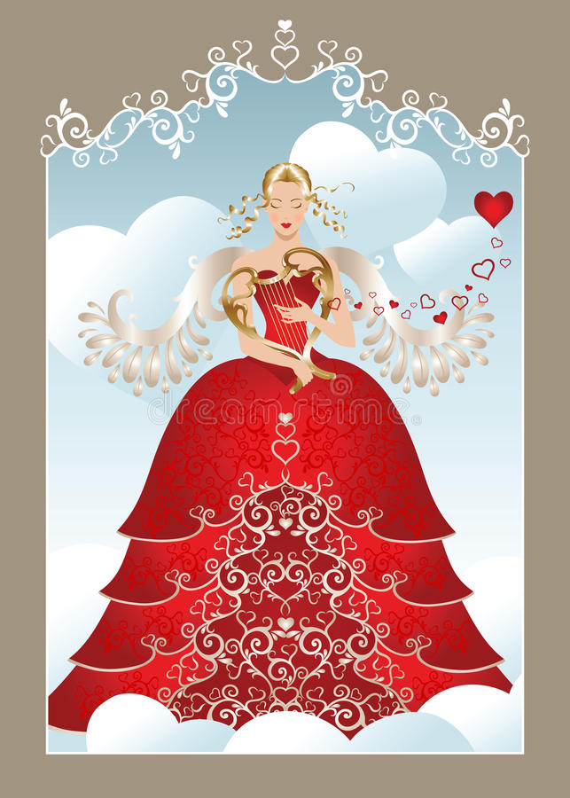 Angelo del biglietto di S. Valentino royalty illustrazione gratis