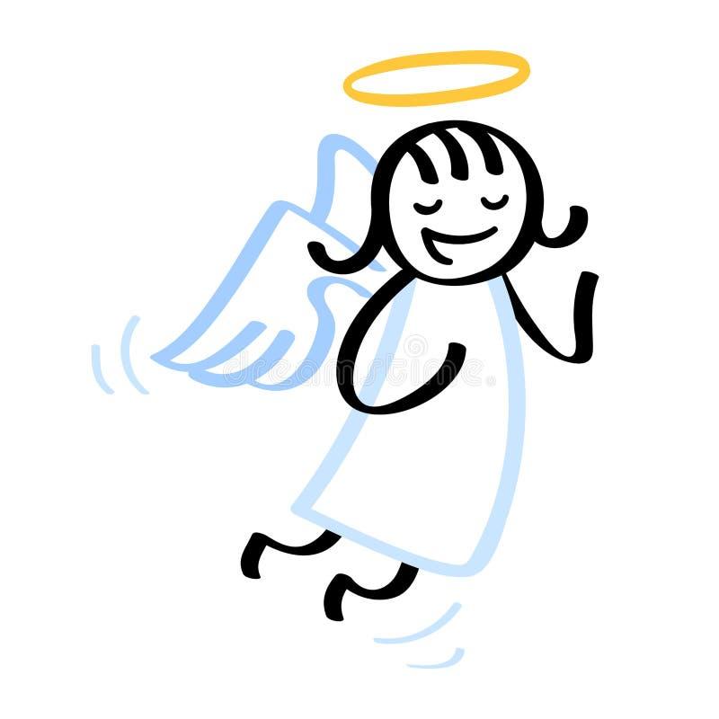 Angelo del fumetto, figura del bastone, ragazza in vestito bianco con le ali ed alone illustrazione di stock
