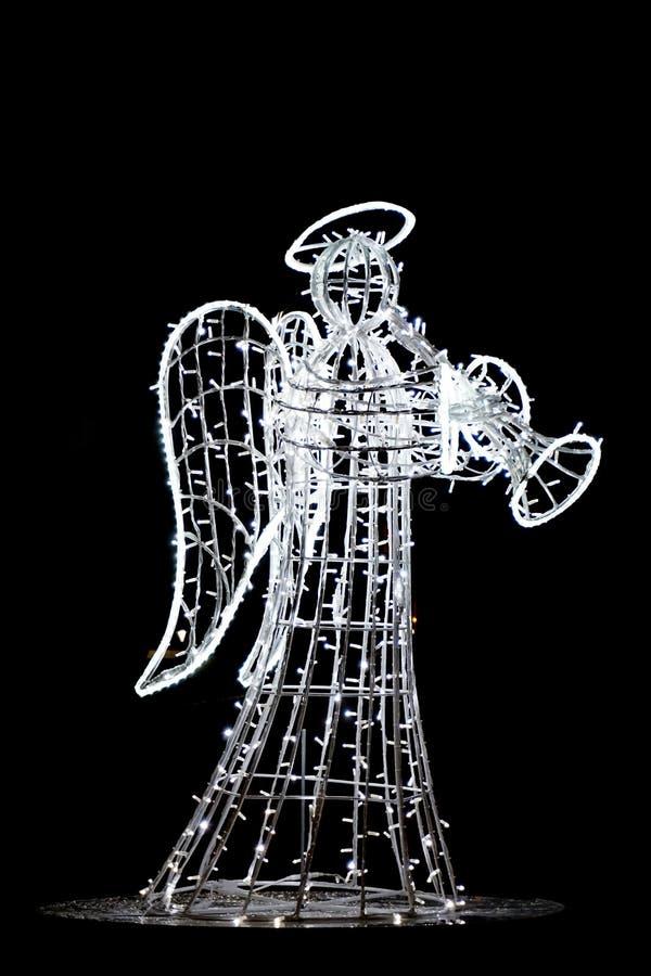angelo della decorazione delle luci di natale fotografia stock libera da diritti