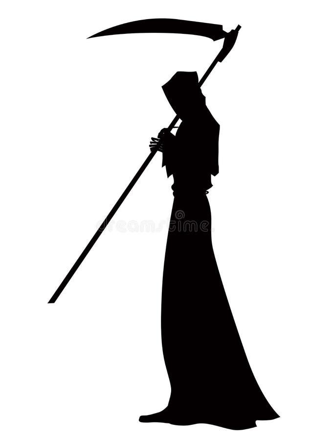 Angelo della morte con una falce in sue mani su fondo bianco illustrazione di stock