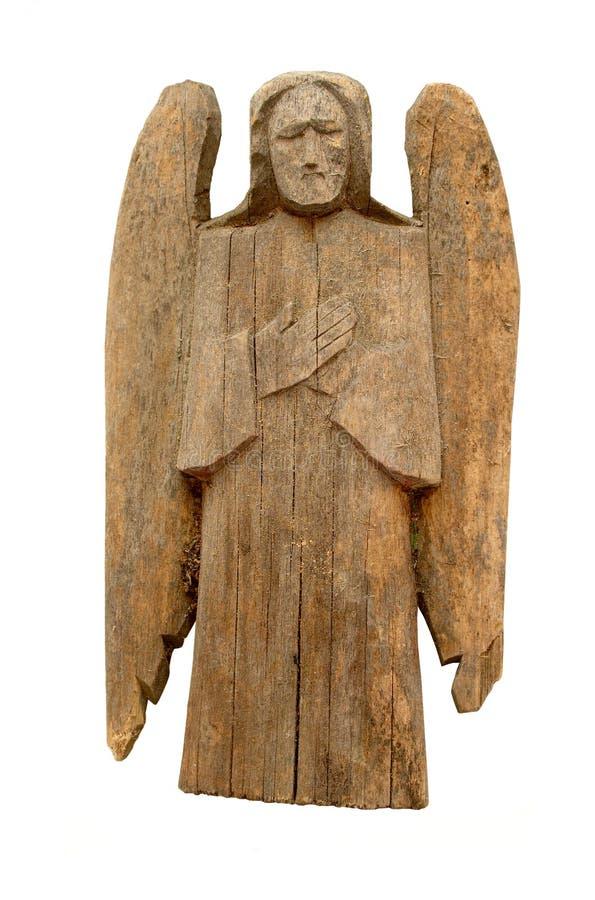 Angelo di legno dell'annata fotografia stock
