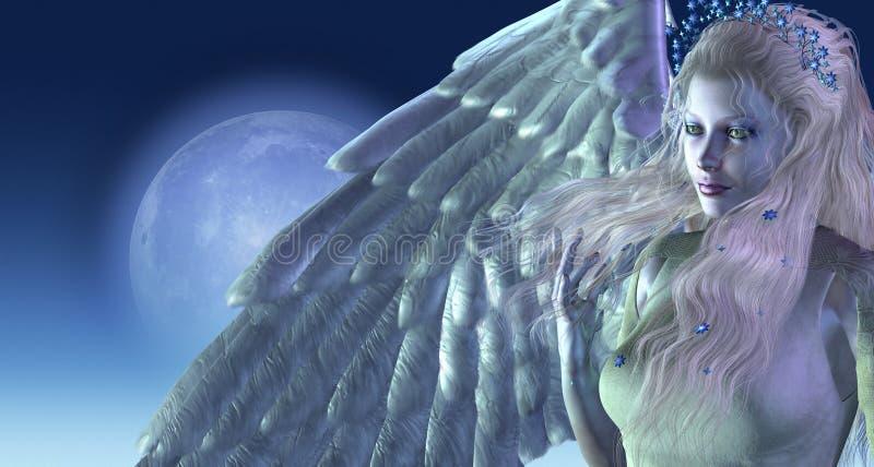 Angelo di luce della luna royalty illustrazione gratis