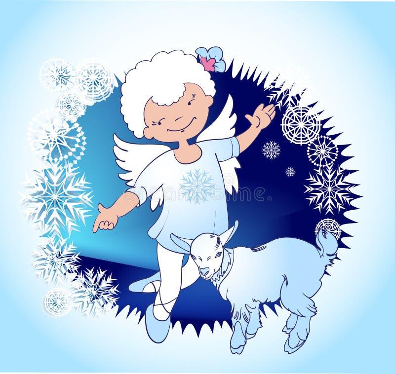 Angelo di Natale con goatling illustrazione di stock
