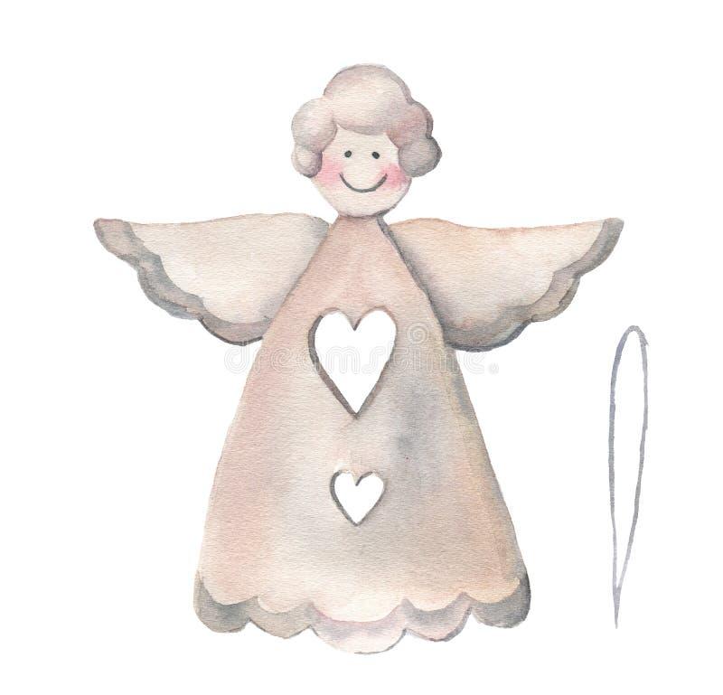 Angelo di Natale dell'acquerello Decorazione tradizionale dipinta a mano isolata su fondo bianco Stampa di festa royalty illustrazione gratis