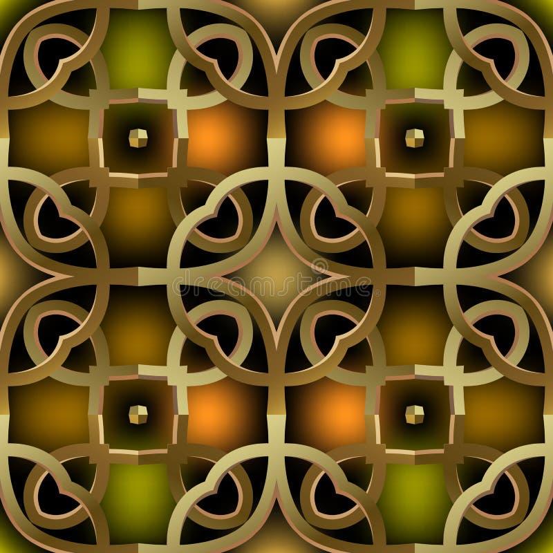 Angelo di ornamento dell'oro ornamentale 3d vettoriale di tipo senza saldatura Sfondo astratto incolore Ripetizione stile arabo d royalty illustrazione gratis