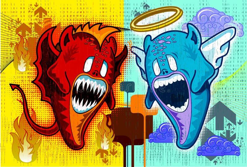 Angelo e demone faccia a faccia illustrazione vettoriale