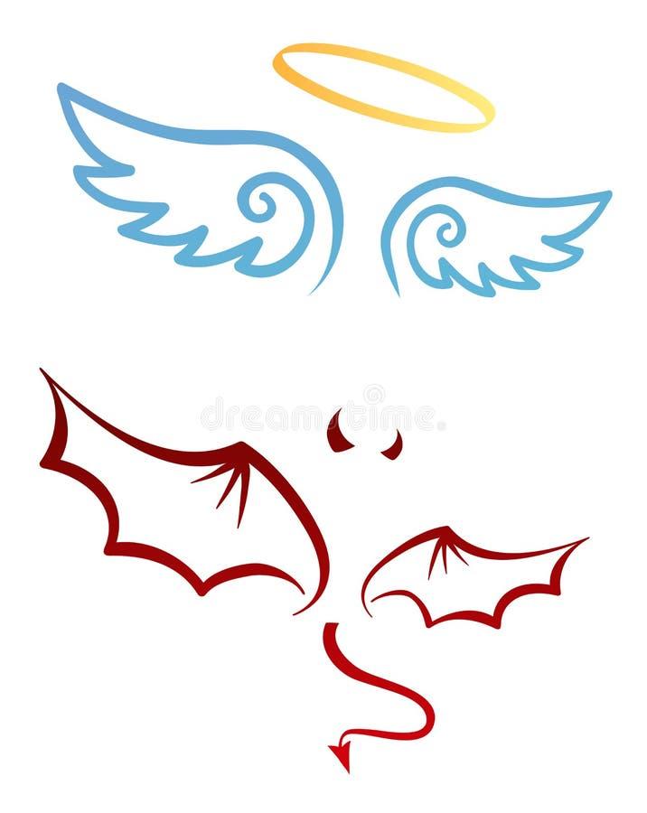 Angelo e diavolo illustrazione di stock