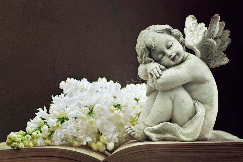 Angelo e fiore lilla bianco sul vecchio libro fotografie stock