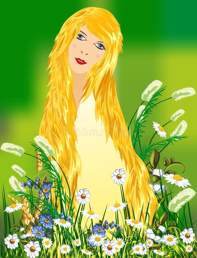 Angelo e fiori, illustrazione di stock