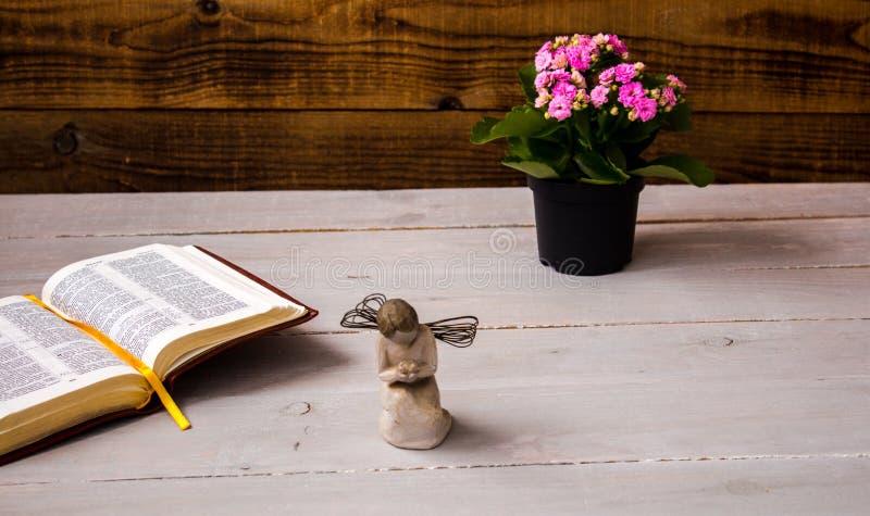 Angelo e la bibbia ed i fiori aperti fotografie stock libere da diritti