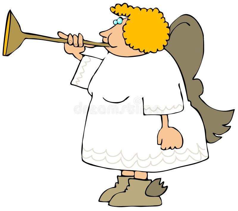 Angelo femminile che salta un corno d'ottone illustrazione vettoriale