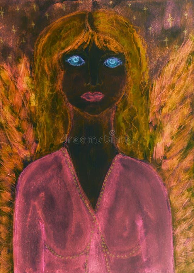 Angelo femminile nero con il vestito e le ali rosa fotografia stock