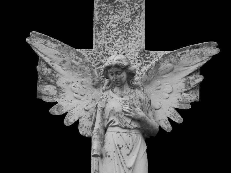 Angelo gotico isolato sul nero immagine stock