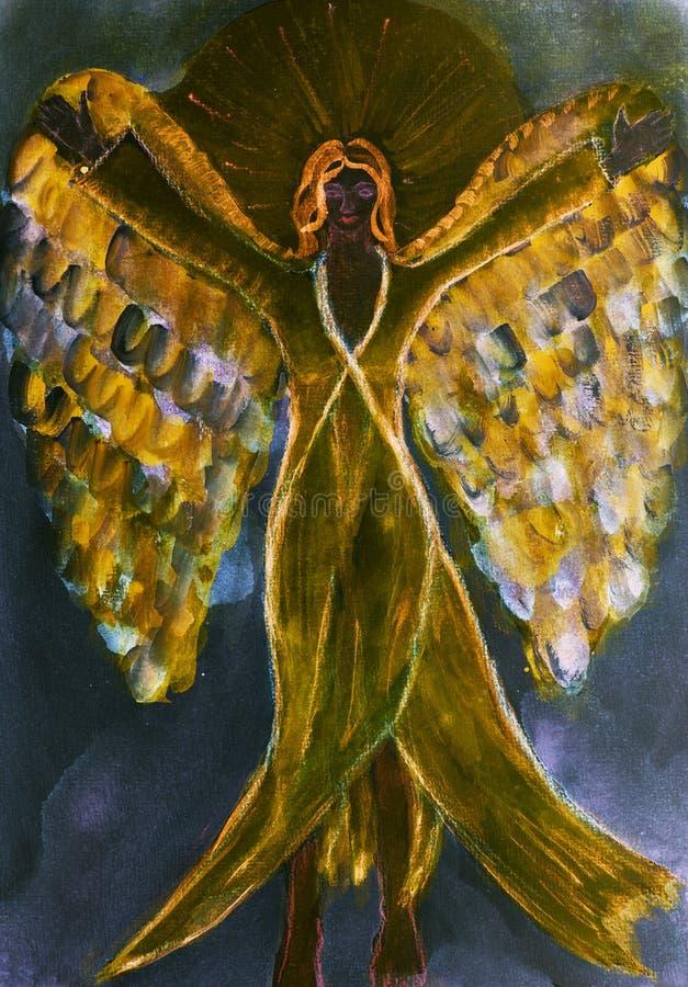 Angelo nero femminile con il vestito e le ali lunghi illustrazione vettoriale