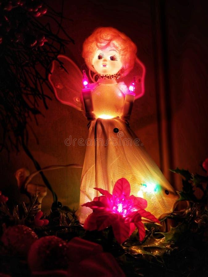 Angelo stagionale illuminato di Natale di festa d'annata fotografia stock libera da diritti