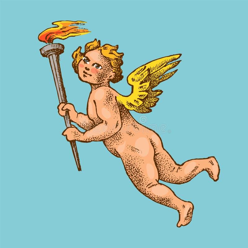 Angelo sveglio con le frecce e l'arco I piccoli cupidi estetici con le ali volano nel cielo Bambini nello stile inciso monocromat illustrazione vettoriale