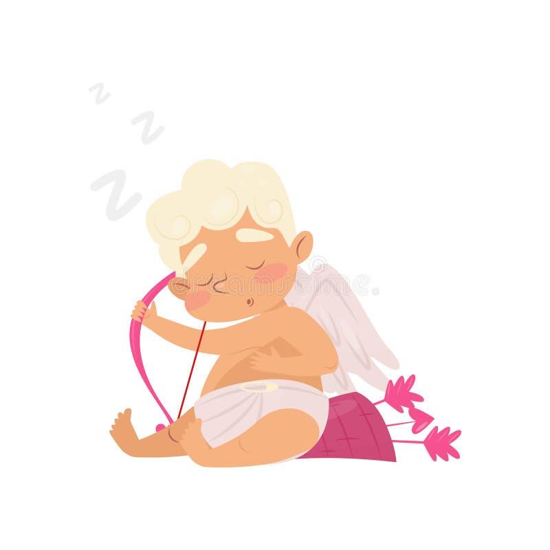Angelo sveglio di sonno Personaggio dei cartoni animati del neonato con l'arco e le frecce rosa Cupido con le piccole ali Progett illustrazione di stock