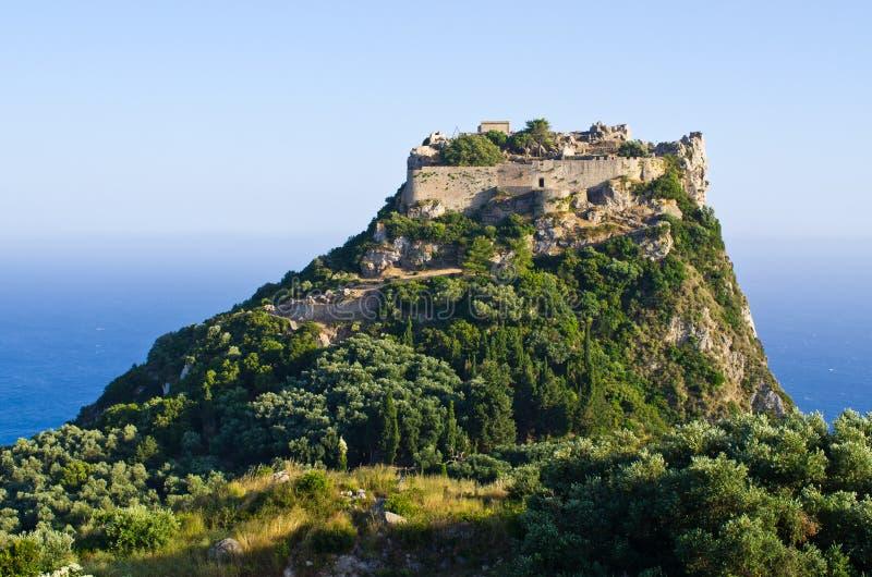 Angelokastro堡垒-科孚岛海岛,希腊废墟  库存照片