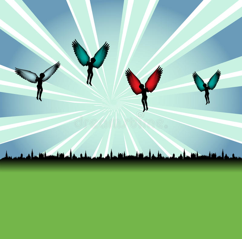 Download Angels above the city stock vector. Image of guardian - 9751566