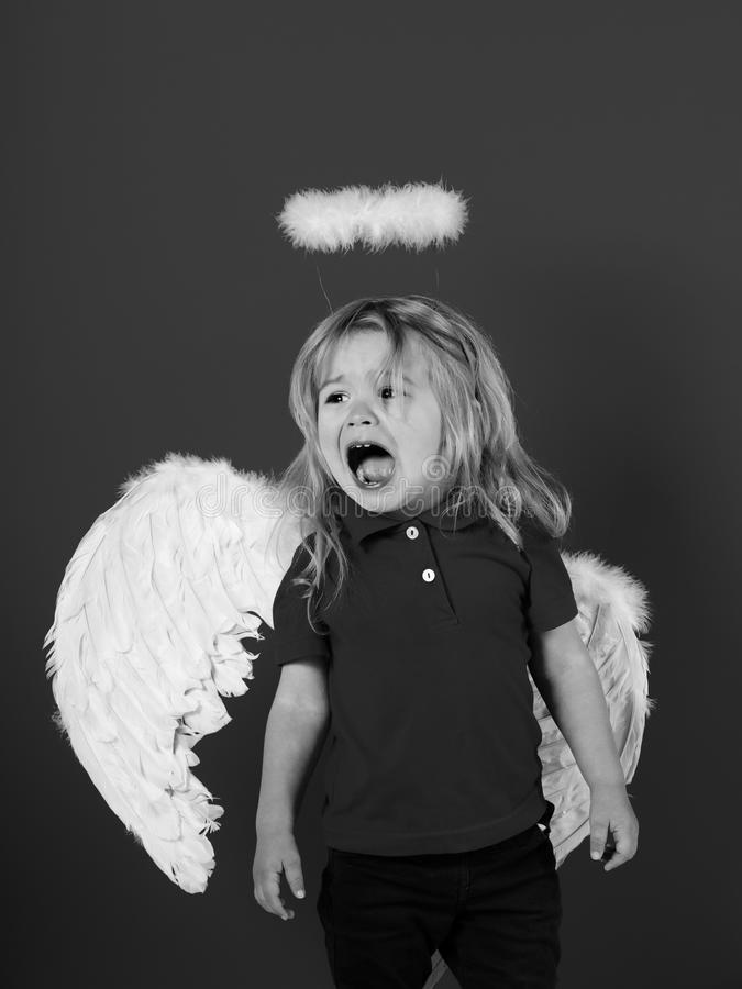 Angels also cry. little angel boy crying with white feather wings and halo royalty free stock images