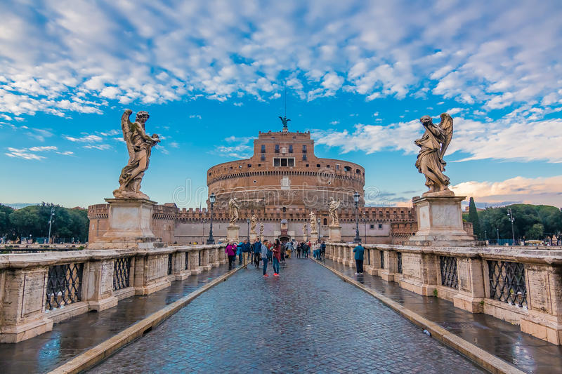 Angels by Bernini and the Castel Sant`Angelo royalty free stock photos