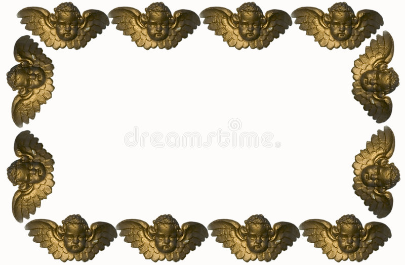 Angels Border. A background or frame with golden plaster angels on the border royalty free stock images