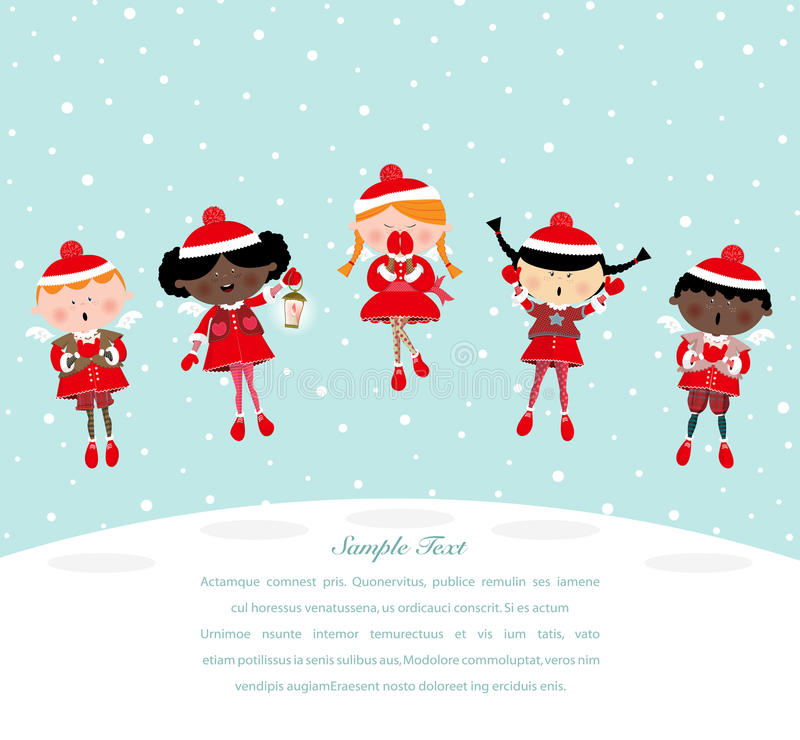 Angels Chorus. Christmas card theme, angels chorus singing. Vector Illustration. Sample Text royalty free illustration