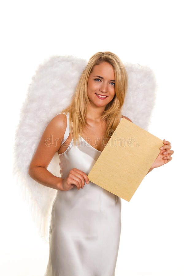 Download Angels For Christmas With An Empty Request Letter. Stock Photo - Image of woman, sales: 16250414