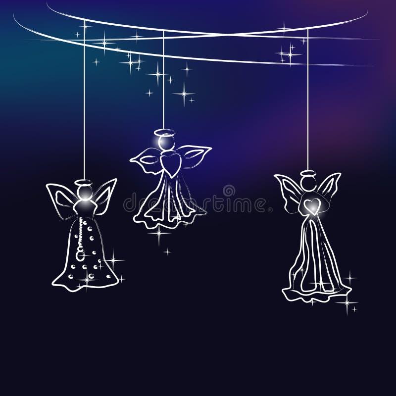 Angels - christmas tree decoration vector illustration