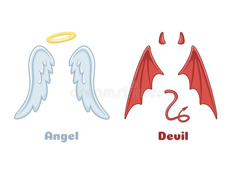 Angels and demons wings. Cartoon evil demon horns and good angel wing with nimbus. Devil and saint angel vector stock illustration