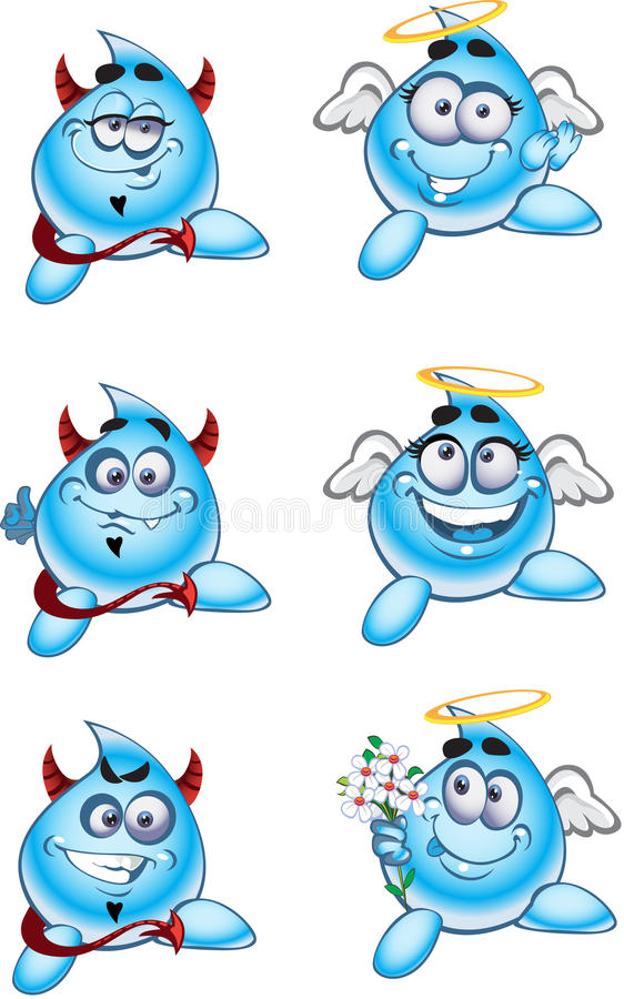 Angels and Devils smiles drops of water stock images