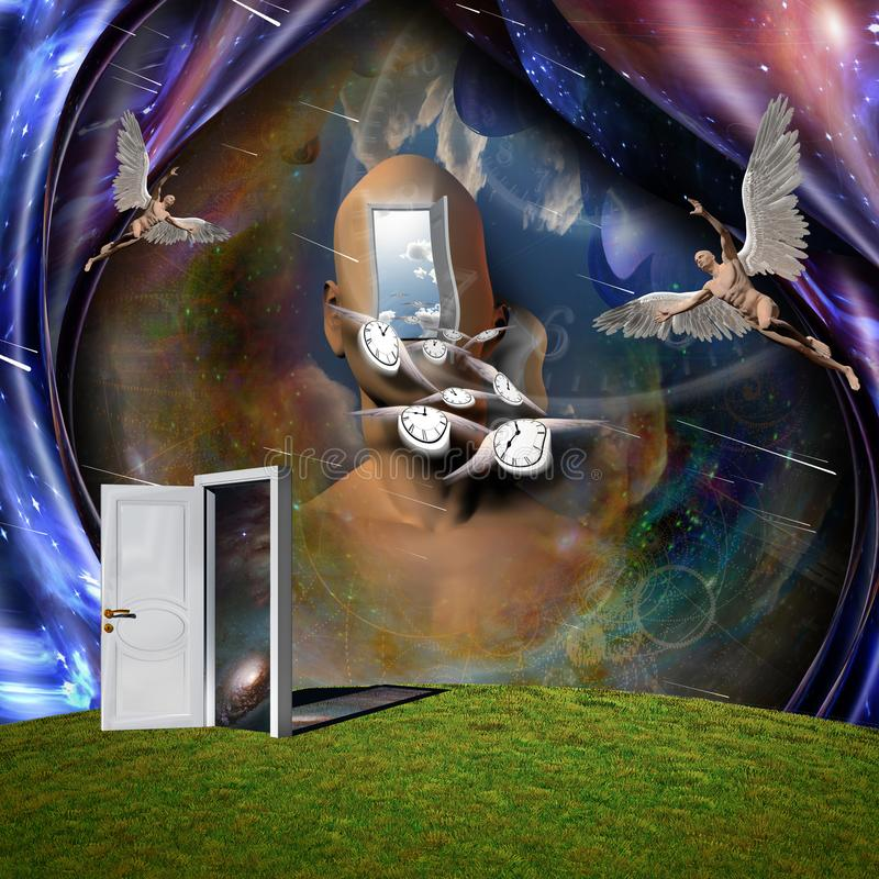 Angels and Flow of time. Surrealism. Man`s head with opened door to another world. Naked man with wings represents angel. Winged clocks symbolizes flow of time stock illustration