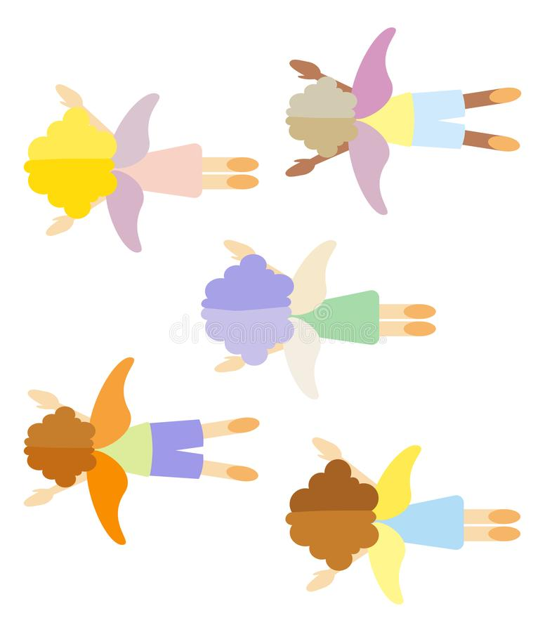 Angels fly in the sky the view from the top. People with wings. Children in a dream. A group of flying cartoon characters royalty free stock photo