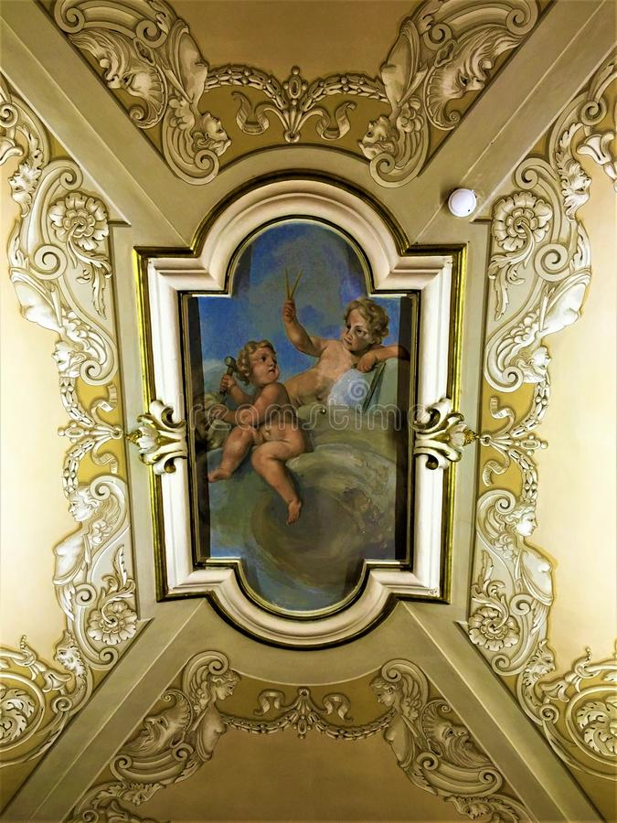 Angels, frescoes, roof painting and art. History and beauty stock photos