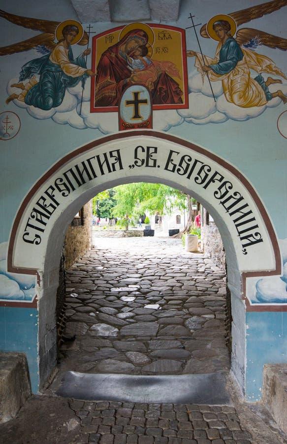 Angels at the gates of the monastery Bachkovski stock photo